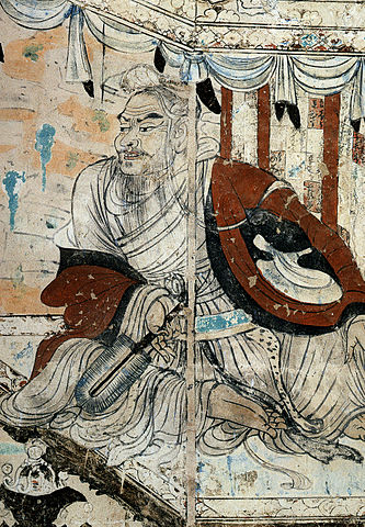 Vimalakirti in debate with the bodhisattva Manjusri, detail from a wall painting in Cave 103 of Dunhuang, Gansu province, China, dated to the Tang Dynasty, 8th century