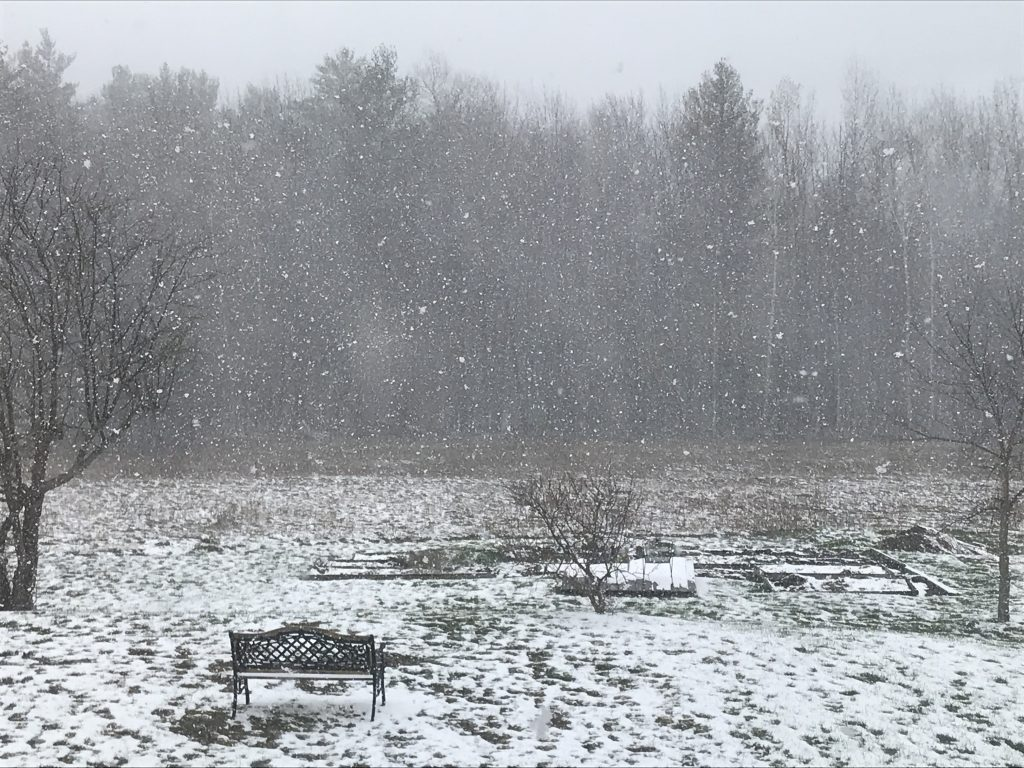 Snow on Earth Day at Wonderwell Mountain Refuge